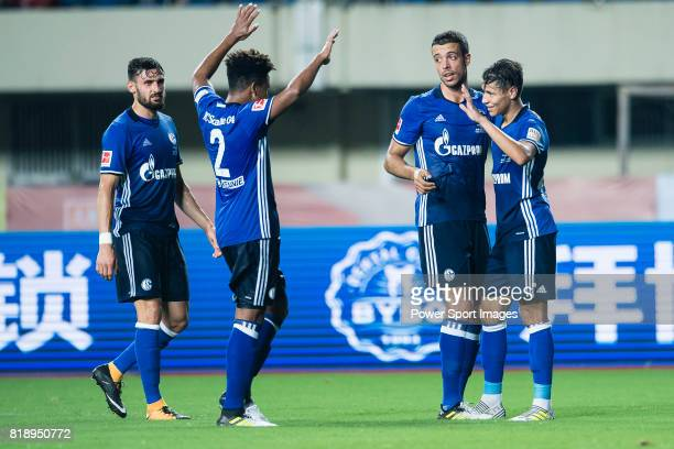 Schalke Midfielder Amine Harit celebrating his goal with his teammates during the Friendly Football Matches Summer 2017 between FC Schalke 04 Vs...