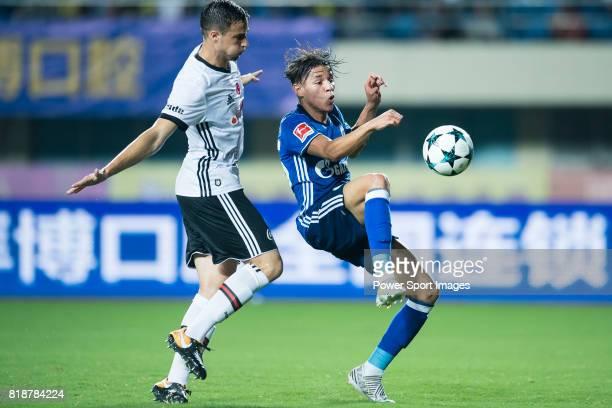 Schalke Midfielder Amine Harit fights for the ball with Besiktas Istambul Defender Matej Mitrovic during the Friendly Football Matches Summer 2017...