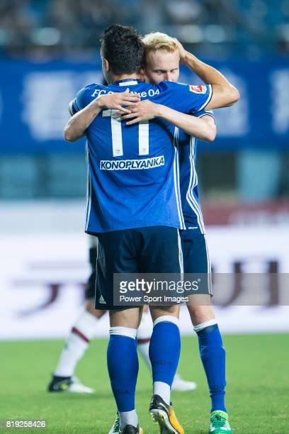 Schalke Midfielder Luke Hemmerich celebrating his score with FC Schalke Midfielder Yevhen Konoplyanka during the Friendly Football Matches Summer...