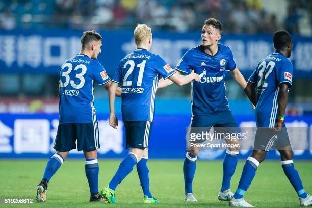 Schalke Midfielder Luke Hemmerich celebrating his score with FC Schalke Forward Fabian Reese during the Friendly Football Matches Summer 2017 between...