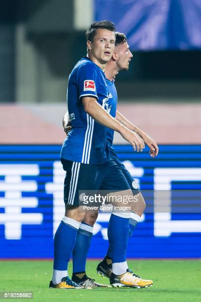 Schalke Midfielder Yevhen Konoplyanka celebrating his goal with his teammates during the Friendly Football Matches Summer 2017 between FC Schalke 04...