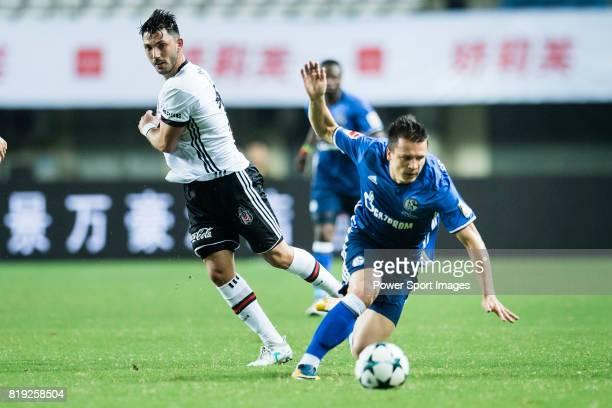 Schalke Midfielder Yevhen Konoplyanka fights for the ball with Besiktas Istambul Midfielder Tolgay Arslan during the Friendly Football Matches Summer...