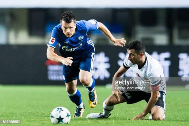Schalke Midfielder Yevhen Konoplyanka fights for the ball with Besiktas Istambul Midfielder Oguzhan Ozyakup during the Friendly Football Matches...