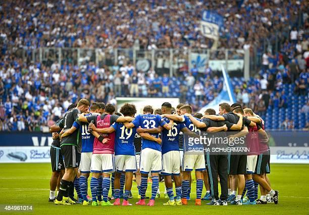 Schalke players reacts during the German first division Bundesliga football match FC Schalke 04 v SV Darmstadt 98 on August 22 2015 in Gelsenkirchen...