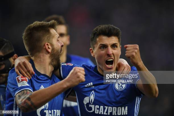 Schalke's Austrian midfielder Alessandro Schoepf celebrates scoring the first goal during the German first division Bundesliga football match FC...