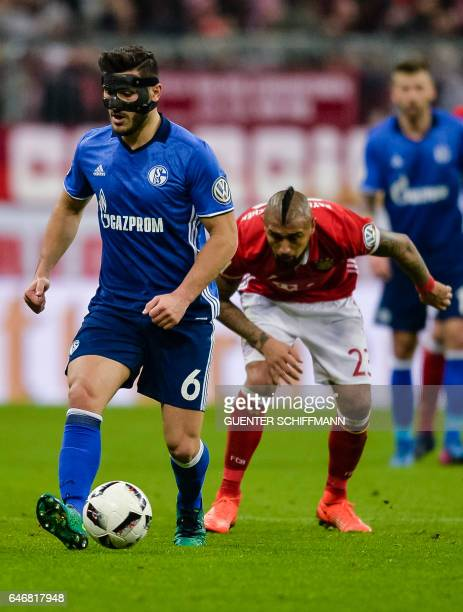 Schalke's Bosnian defender Sead Kolasinac in action during the German Cup DFB Pokal quarterfinal football match FC Bayern Munich v FC Schalke 04 in...