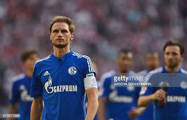 Schalke's defender Benedikt Hoewedes reacts during the German first division Bundesliga football match of FC Cologne vs FC Schalke 04 in Cologne...