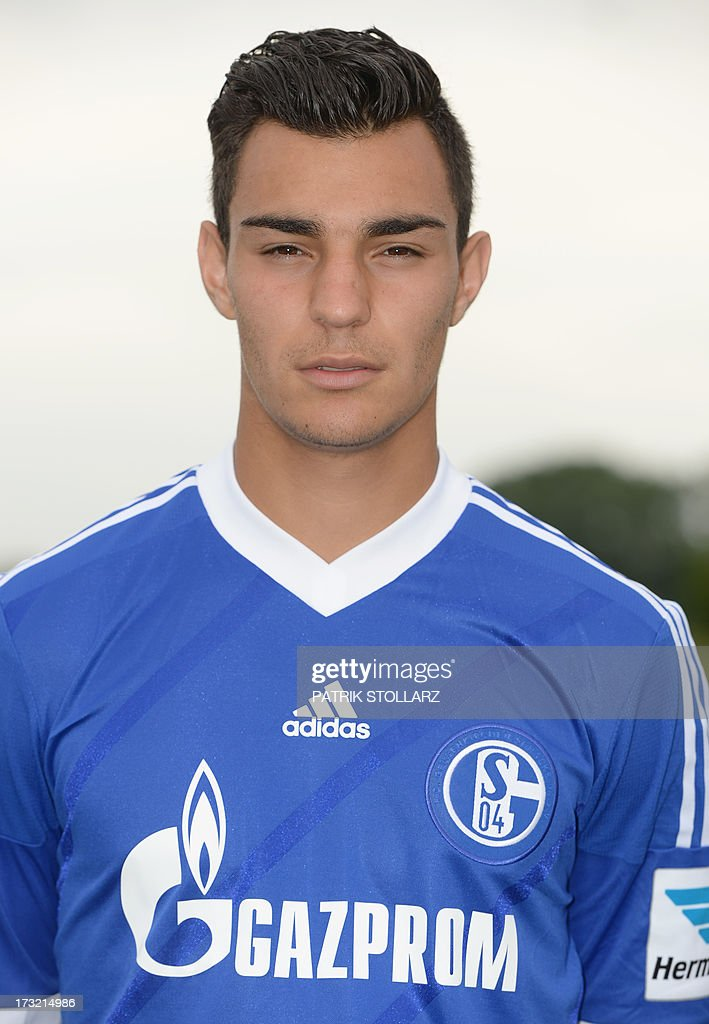 Schalke's defender Kaan Ayhan poses during a team photo call of German first division Bundesliga football club FC Schalke 04, on July 10, 2013 at the grounds of the former coal mine 'Consolidation' in Gelsenkirchen, western Germany.