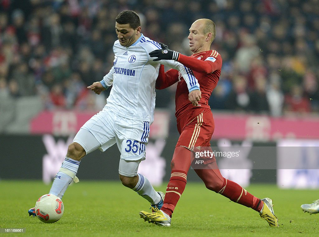 Schalke's defender Sead Kolasinac (L) and Bayern Munich's Dutch midfielder Arjen Robben vie for the ball during the German first division Bundesliga football match FC Bayern Munich vs Fc Schalke 04 in Munich, southern Germany, on February 9, 2013.