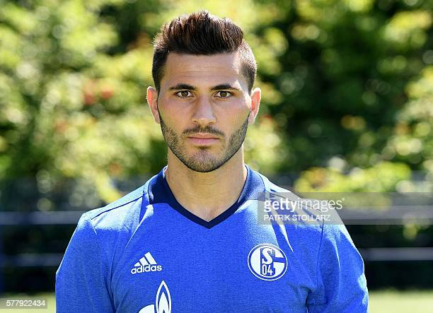 Schalke's defender Sead Kolasinac poses during the team presentation of Schalke 04 on July 20 2016 in Gelsenkirchen western Germany / AFP / PATRIK...