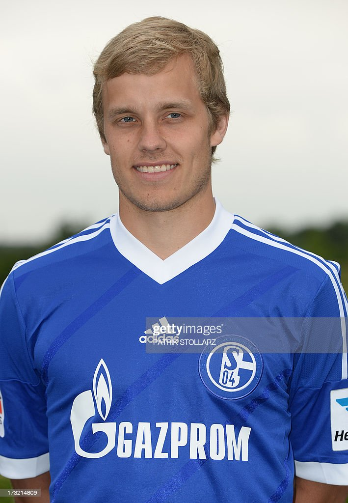 Schalke's Finnish forward Teemu Pukki poses during a team photo call of German first division Bundesliga football club FC Schalke 04, on July 10, 2013 at the grounds of the former coal mine 'Consolidation' in Gelsenkirchen, western Germany.