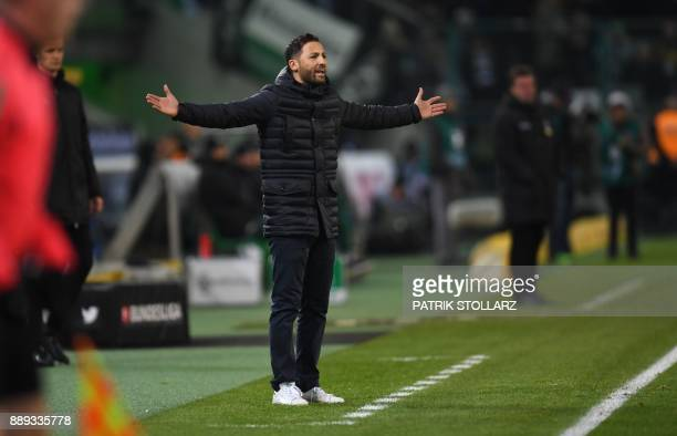 Schalke's German head coach Domenico Tedesco reacts during the German first division Bundesliga football match of Borussia Moenchengladbach vs FC...