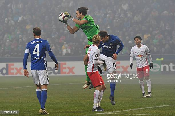 Schalke's goakeeper Fabian Giefer saves the ball vie for the ball during the UEFA Europa League Group I football match between FC Salzburg and FC...