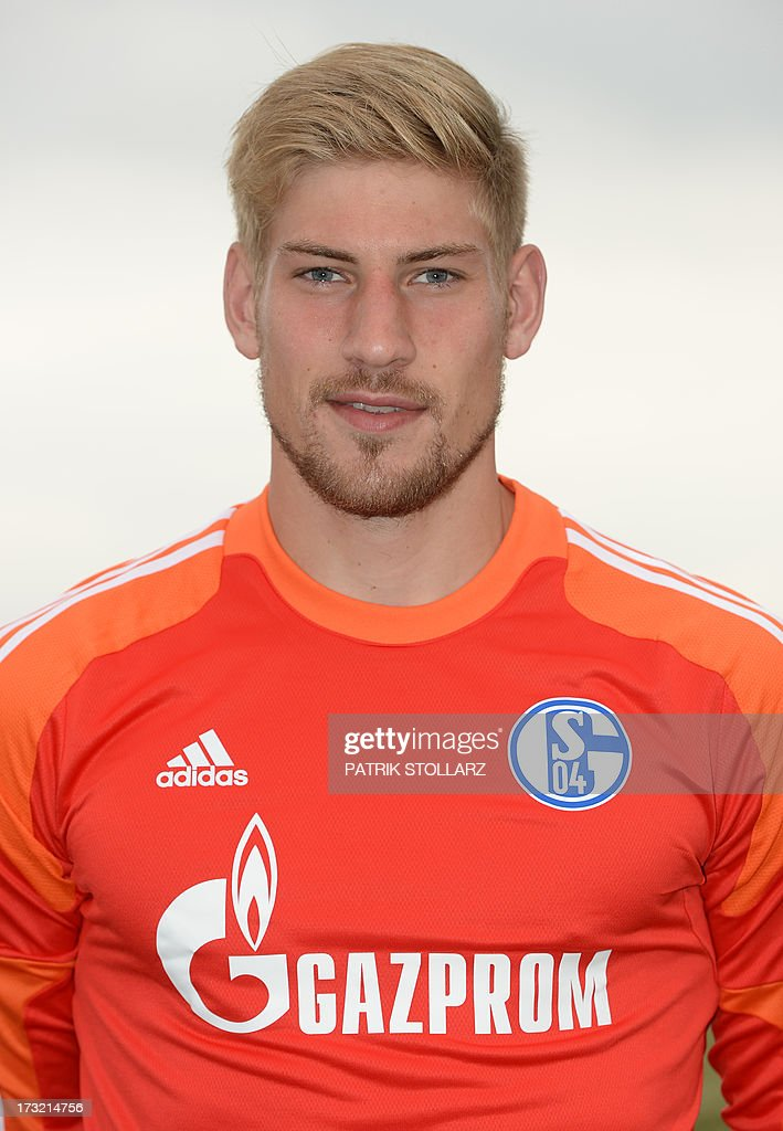 Schalke's goalkeeper Lars Unnerstall poses during a team photo call of German first division Bundesliga football club FC Schalke 04, on July 10, 2013 at the grounds of the former coal mine 'Consolidation' in Gelsenkirchen, western Germany.
