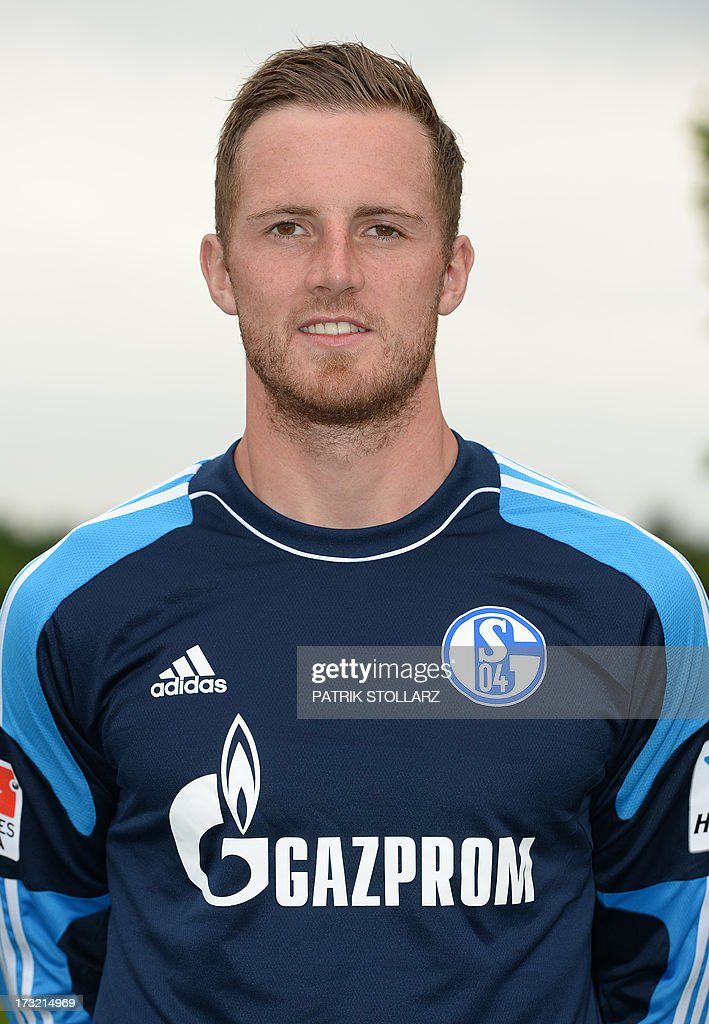 Schalke's goalkeeper Ralf Faehrmann poses during a team photo call of German first division Bundesliga football club FC Schalke 04, on July 10, 2013 at the grounds of the former coal mine 'Consolidation' in Gelsenkirchen, western Germany.