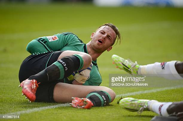 Schalke's goalkeeper Ralf Faehrmann reacts during the German first division Bundesliga football match of FC Cologne vs FC Schalke 04 in Cologne...