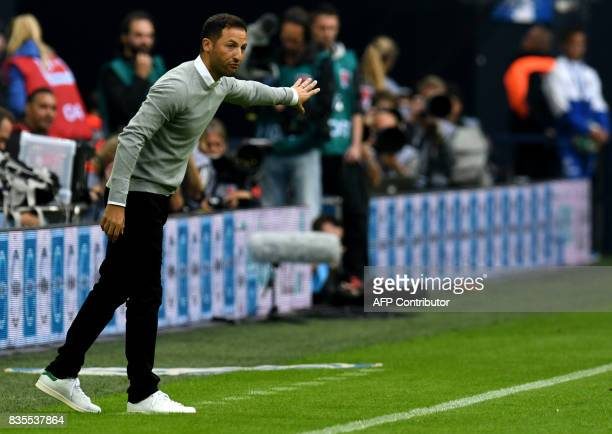 Schalke's head coach Domenico Tedesco gestures during the German First division Bundesliga football match FC Schalke 04 v RB Leipzig in Gelsenkirchen...