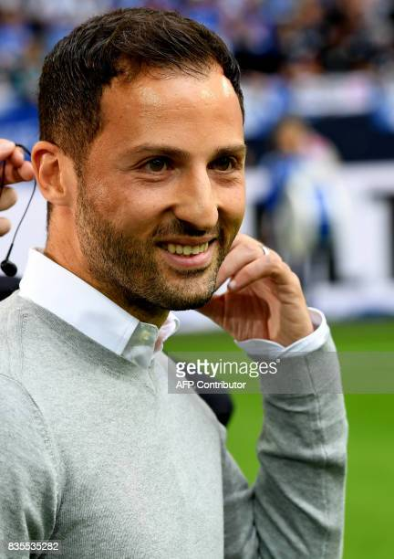 Schalke's head coach Domenico Tedesco gives an interview prior to the German First division Bundesliga football match FC Schalke 04 v RB Leipzig in...