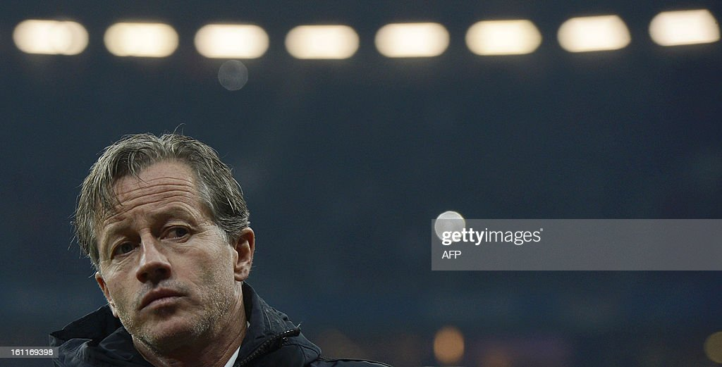 Schalke's head coach Jens Keller is pictured ahead the German first division Bundesliga football match between FC Bayern Munich vs FC Schalke 04 in Munich, southern Germany, on February 9, 2013. AFP PHOTO / CHRISTOF STACHE AT + 49 69 650050