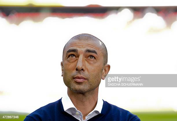 Schalke's head coach Roberto Di Matteo is pictured during the German first division Bundesliga football match of FC Cologne vs FC Schalke 04 in...