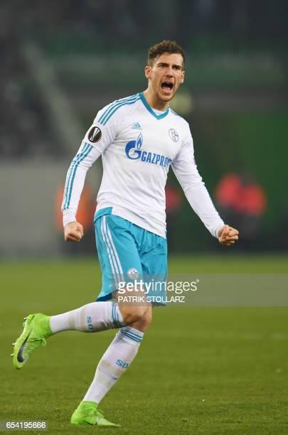 Schalke's midfielder Leon Goretzka celebrate after scoring during the UEFA Europa League Round of 16 2nd leg football match Borussia Moenchengladbach...