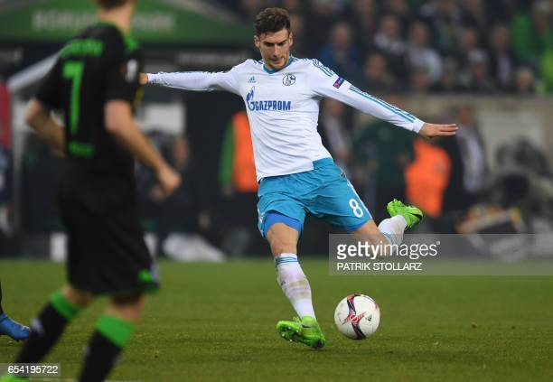 Schalke's midfielder Leon Goretzka scores during the UEFA Europa League Round of 16 2nd leg football match Borussia Moenchengladbach v FC Schalke 04...