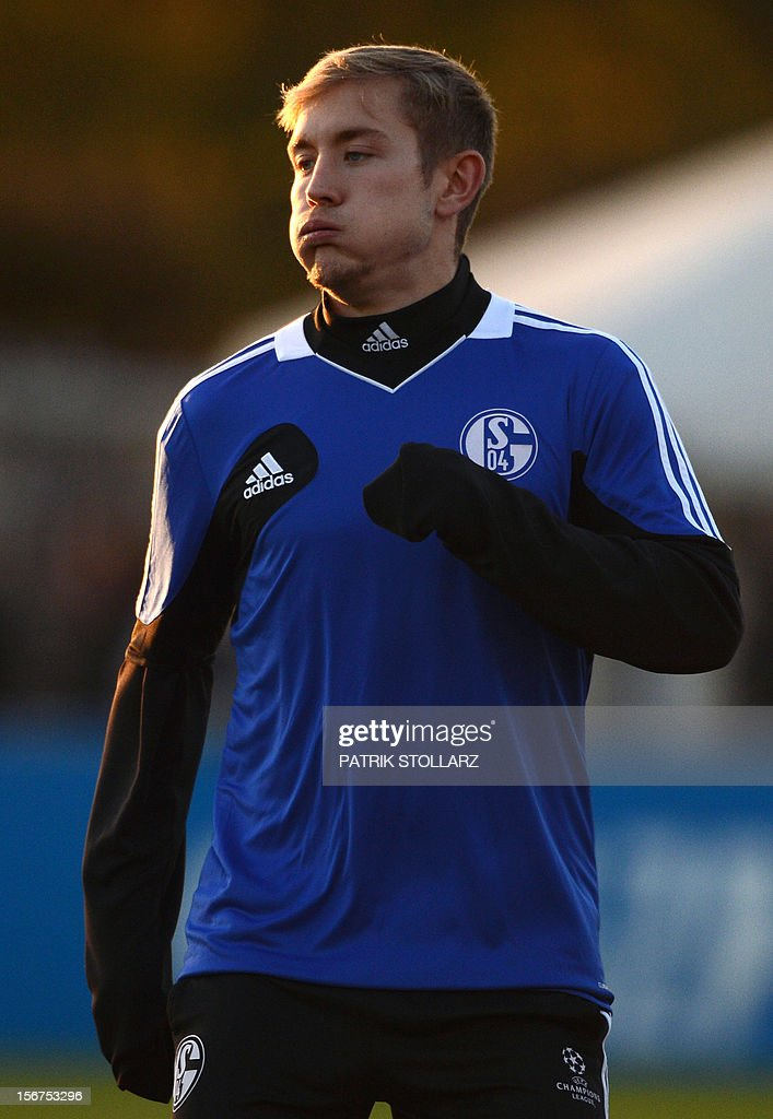 Schalke's midfielder Lewis Holtby takes part in a training session at the training ground, in Gelsenkirchen,western Germany on November 20, 2012, on the eve of the UEFA Champions League football match against Olympiacos Piraeus.
