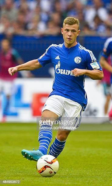 Schalke's midfielder Max Meyer plays the ball during the German first division Bundesliga football match FC Schalke 04 v SV Darmstadt 98 on August 22...