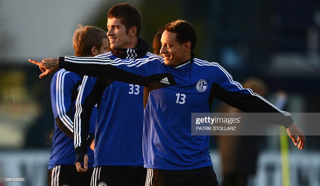 Schalke's midfielder Roman Neustaedter (L) and Schalke's US midfielder Jermaine Jones (R) take part in a training session at the training ground, in Gelsenkirchen,western Germany on November 20, 2012, on the eve of the UEFA Champions League football match against Olympiacos Piraeus.