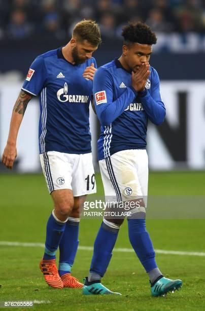 Schalke's midfielder Weston McKennie and Schalke's Austrian striker Guido Burgstaller react during the German First division Bundesliga football...