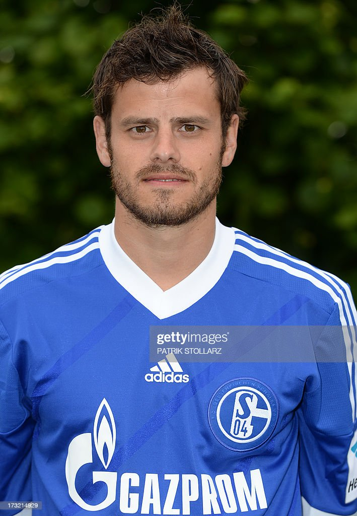 Schalke's Swiss midfielder Tranquillo Barnetta poses during a team photo call of German first division Bundesliga football club FC Schalke 04, on July 10, 2013 at the grounds of the former coal mine 'Consolidation' in Gelsenkirchen, western Germany.