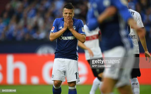 Schalke's Ukrainian midfielder Yevhen Konoplyanka reacts during the German First division Bundesliga football match FC Schalke 04 vs VfB Stuttgart in...