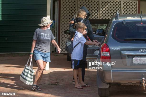 Schapelle Corby's aunty Jen leaves with other family members from Schappelle Corby's mother's house in Loganlea on May 28 2017 in Brisbane Australia...