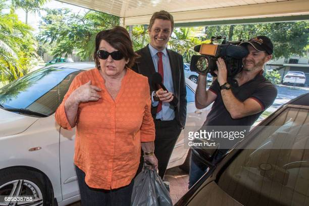 Schapelle Corby's mother Rosleigh Rose returns to her home surrounded by media after doing some shopping south of Brisbane on May 29 2017 in Brisbane...