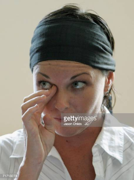 Schappelle Corby wipes her eye during the judicual hearing in Denpasar District Court August 25 2006 in Denpasar Bali Indonesia Corby's defence team...