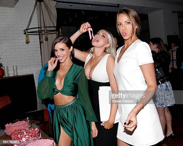 Scheana Marie Stassi Schroeder and Kristen Doute attend the 'Vanderpump Rules' premiere party at The Church Key on October 28 2015 in West Hollywood...