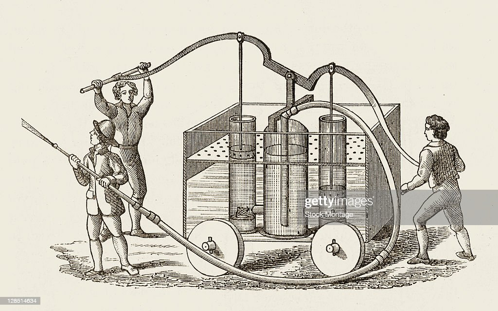 Schematic cutaway illustration of a pump fire engine operated by three men London England 1760s