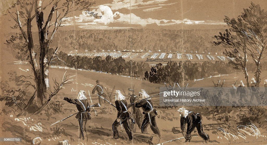 Schenks Ohio regiments by alfred Waud 18281891 artist Published 1861The Ohio Corps near Vienna in a valley through which runs the railroad on which...