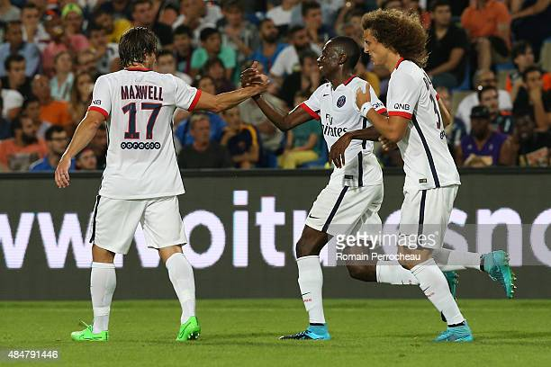 Scherrer Maxwell and David Luiz congratulate Blaise Matuidi after his goal during the French Ligue 1 match between Paris Saint Germain and Montpeller...