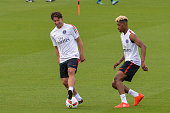 Scherrer Maxwell and Presnel Kimpembe during Paris Saint Germain First Training Session on July 4 2016 in Camp des Loges SaintGermainenLaye France