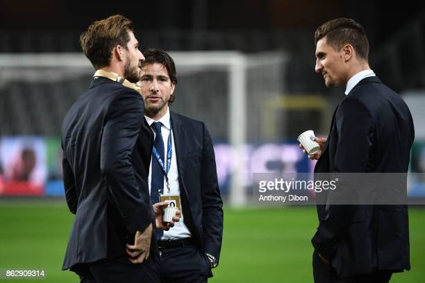 Scherrer Maxwell of PSG with Kevin Trapp and Thomas Meunier during the UEFA Champions League match between RSC Anderlecht and Paris SaintGermain at...