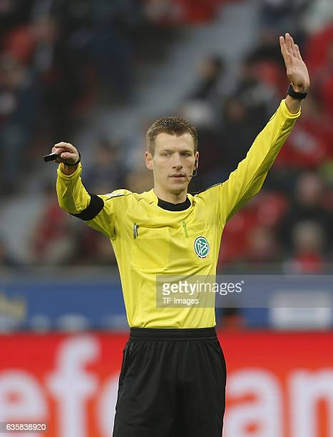 Schiedsrichter Benjamin Cortus gestures during the Bundesliga match between Bayer 04 Leverkusen and SC Freiburg at BayArena on December 3 2016 in...