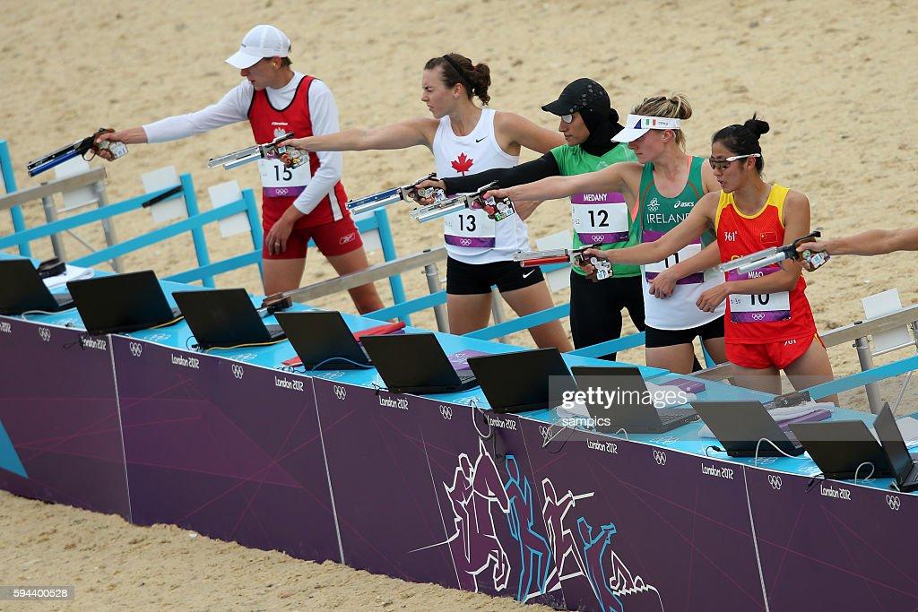 Schiesstand Moderner Fünfkampf Modern Pentathlon 200 Meter Laufen und Schiessen Olympische Sommerspiele in London 2012 Olympia olympic summer games...