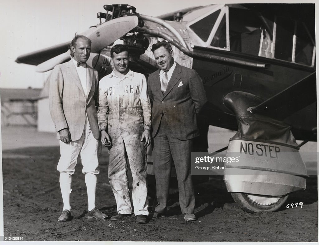 Schlee Brock and the mechanic who tuned their motor for the Wright Aeronautical Corporation