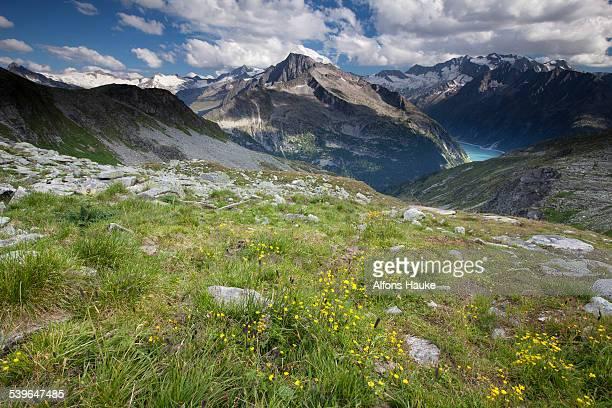 Schlegeisspeicher reservoir and Zillertal Alps, Ginzling, Tyrol, Austria