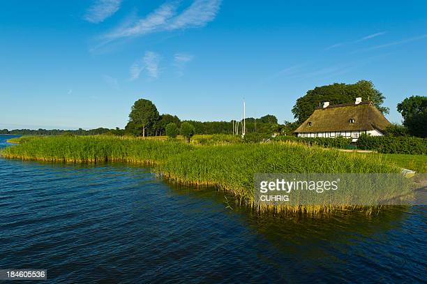 Schlei thatched roof house at riverbank with reed