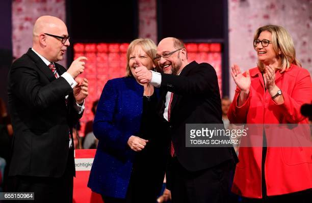 SchleswigHolstein State Premier Torsten Albig NorthRhine Westphalia's state Premier Hannelore Kraft the candidate for Chancellor of Germany's social...