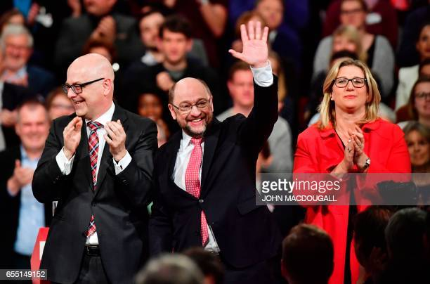 SchleswigHolstein State Premier Torsten Albig the candidate for Chancellor of Germany's social democratic SPD party Martin Schulz and and SPD top...