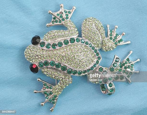 Schmuck Accessoires Modeschmuck Brosche in Form eines Frosches