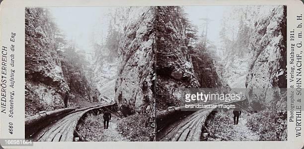 Schneeberg DIE ENG With a log flume 1911 Stereo photograph by Würthle Sohn Nachf / Salzburg Schneeberg Aufstieg durch die Eng Mit einer Holzriese zum...